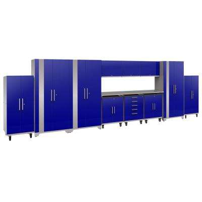 Performance Plus 2.0 80 in. H x 253 in. W x 24 in. D Steel Garage Cabinet Set in Blue (12-Piece)