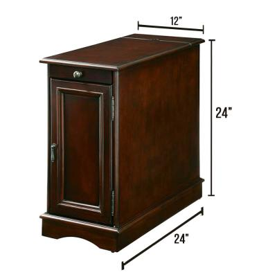 Lilith I Side Table with Built-in USB Outlet, Pull-out Cup Holder and Storage Cabinet in Cherry Finish
