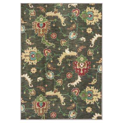 Modern Oushak Olive Green 3 ft. 3 in. x 5 ft. 3 in. Area Rug