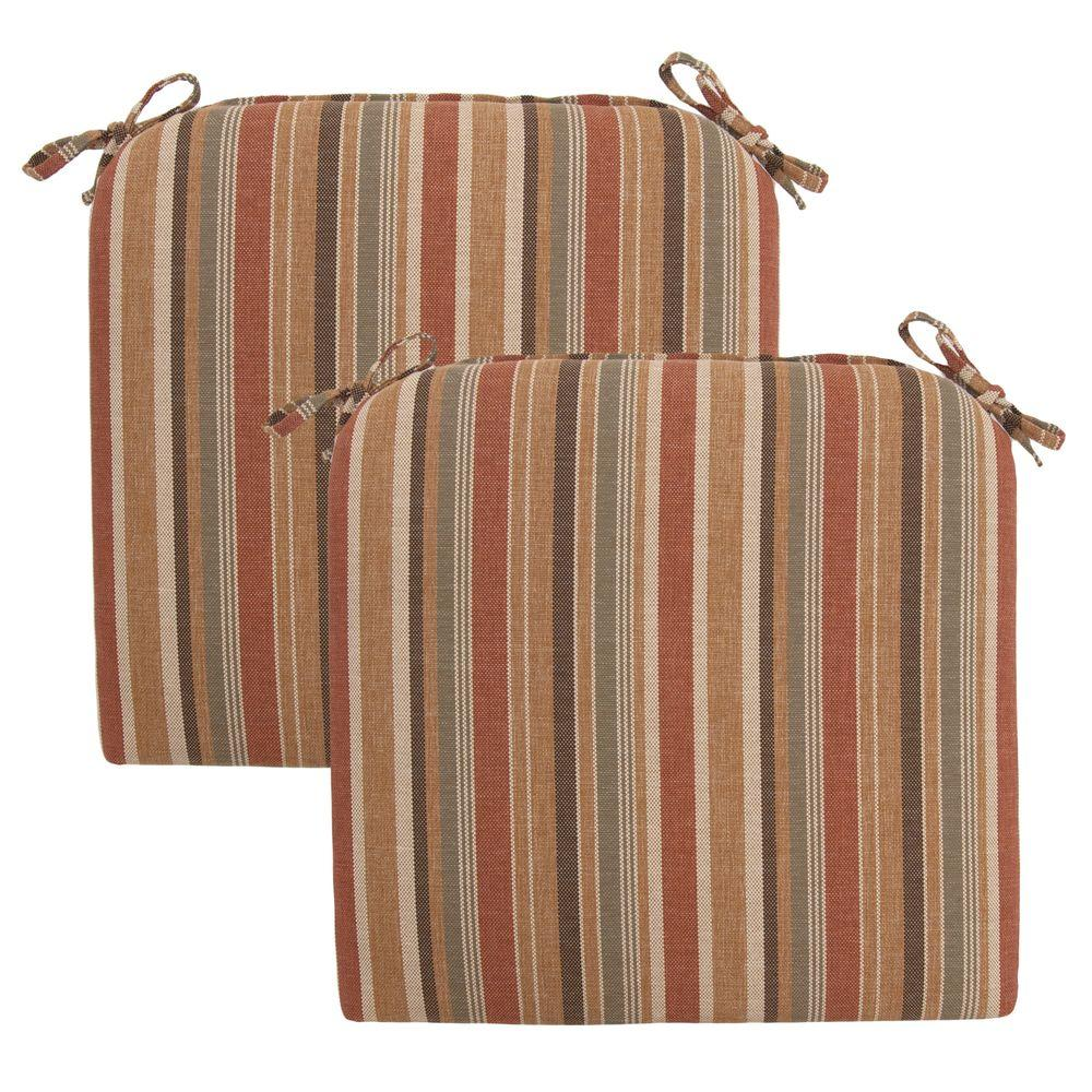 Hampton Bay Cayenne Stripe Rapid-Dry Deluxe Outdoor Seat Cushion (2-Pack)