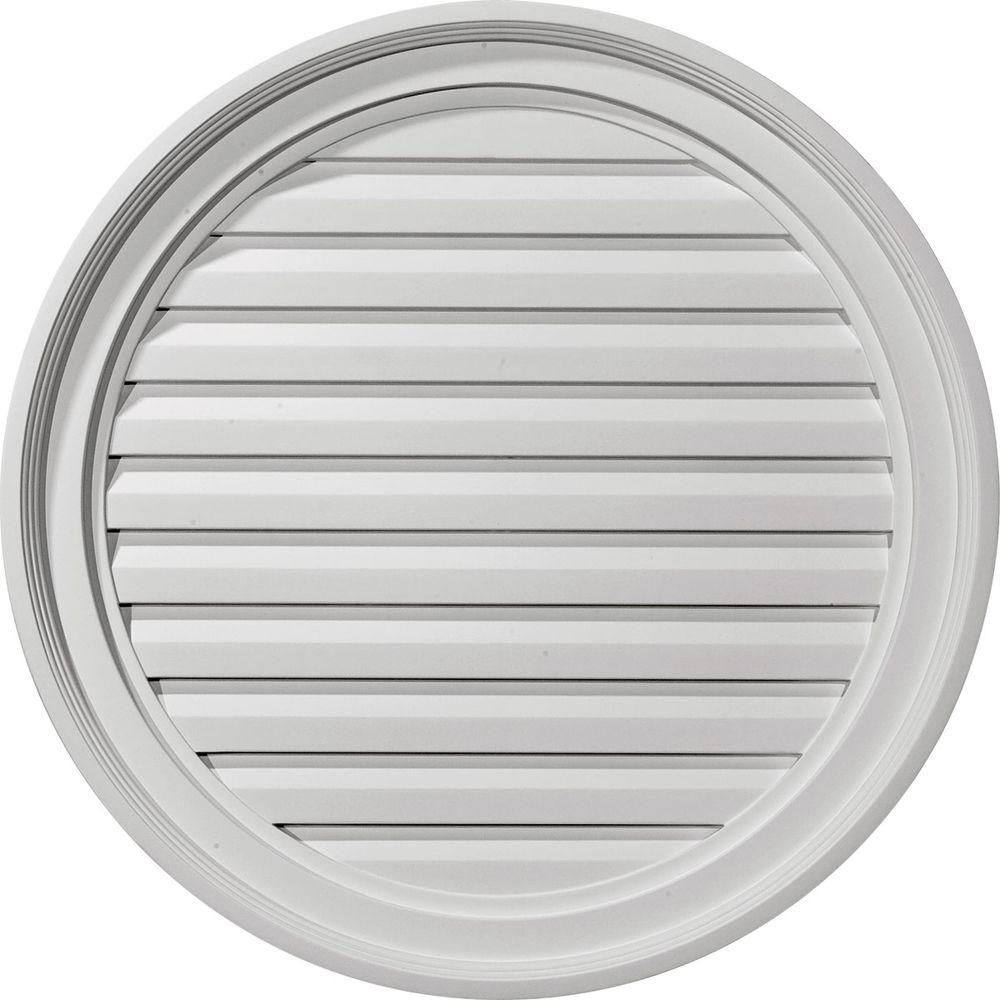 Ekena Millwork 1-1/8 in. x 24 in. x 24 in. Functional Round Gable Louver Vent