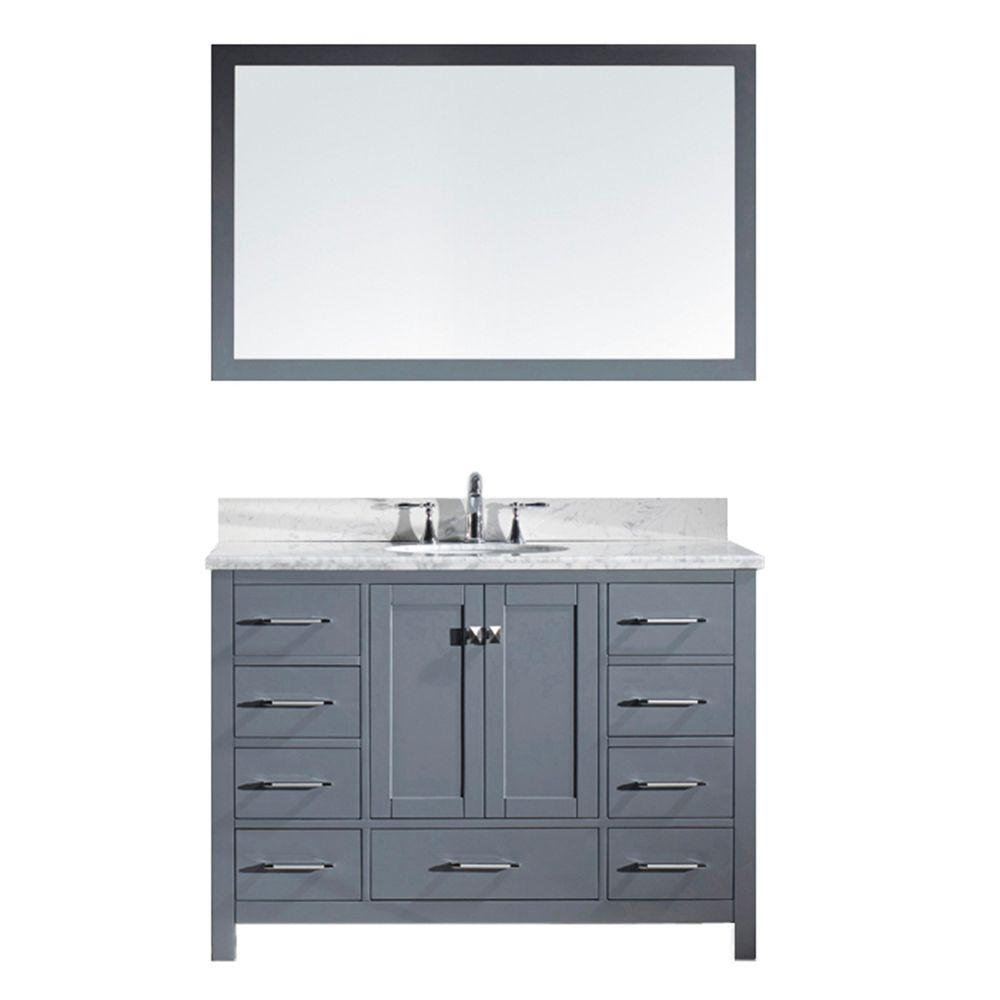 Virtu USA Caroline Avenue 49 in. W Bath Vanity in Gray with Marble Vanity Top in White with Round Basin and Mirror