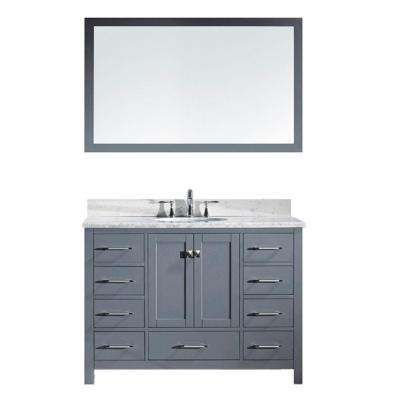 Caroline Avenue 49 in. W Bath Vanity in Gray with Marble Vanity Top in White with Round Basin and Mirror