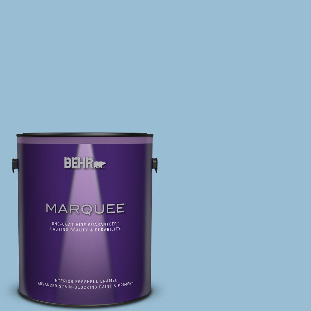 Behr Marquee 1 Gal Ppu14 11 Gentle Sky Eggshell Enamel Interior Paint Primer 245001 The Home Depot