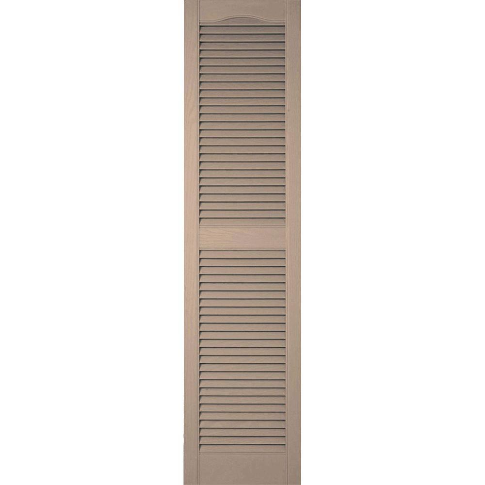 Ekena Millwork 14-1/2 in. x 58 in. Lifetime Vinyl Custom Cathedral Top Center Mullion Open Louvered Shutters Pair Wicker