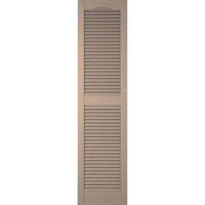 12 in. x 60 in. Lifetime Vinyl Standard Cathedral Top Center Mullion Open Louvered Shutters Pair Wicker