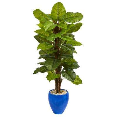 Real Touch 5 ft. Indoor Large Leaf Philodendron Artificial Plant in Blue Planter