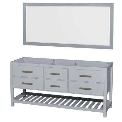 Natalie 72 in. Vanity Cabinet with Mirror in Gray