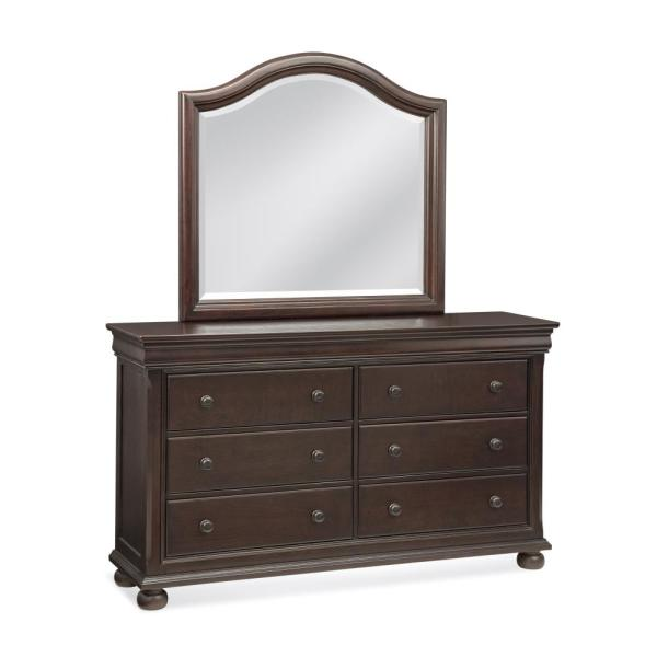American Woodcrafters Hyde Park 6-Drawer Merlot Dresser with Mirror 1310-DRMR