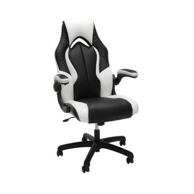 Essentials Collection White High-Back Racing Style Bonded Leather Gaming Chair