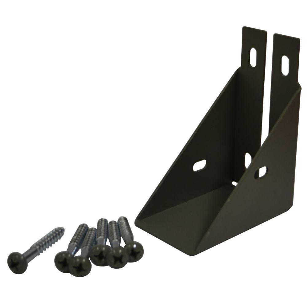 Veranda 1-1/2 in. x 3-3/4 in. Gray Composite Fence Rail Bracket with Screw