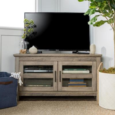 Cordoba 44 in. Gray Wash Wood Corner TV Stand 50 in. with Doors