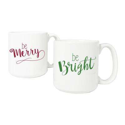 Merry and Bright 20 oz. 3.8 in. x 4.1 in. White Ceramic Christmas Coffee Mugs (Set of 2)