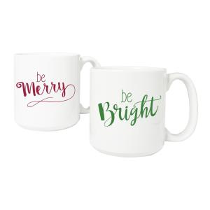 Merry and Bright 20 oz. 3.8 inch x 4.1 inch White Ceramic Christmas Coffee Mugs (Set of 2) by