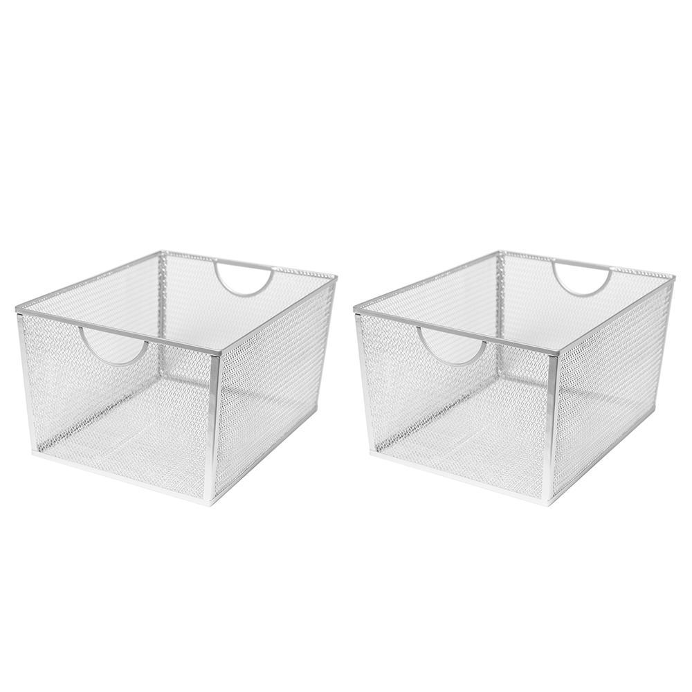 15 in. W x 8.5 in. H Silver Nesting Utility Storage Basket (2-Piece)