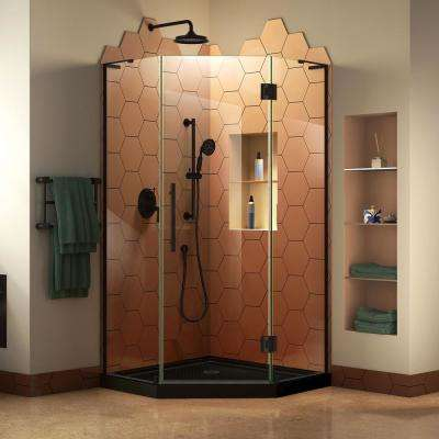 Prism Plus 42 in. x 72 in. D Frameless Hinged Neo-Angle Shower Enclosure in Satin Black and Shower Base