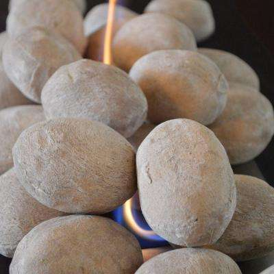 5.5 in. Sand Ceramic Gel Fireplace Logs Stone (25-Piece)