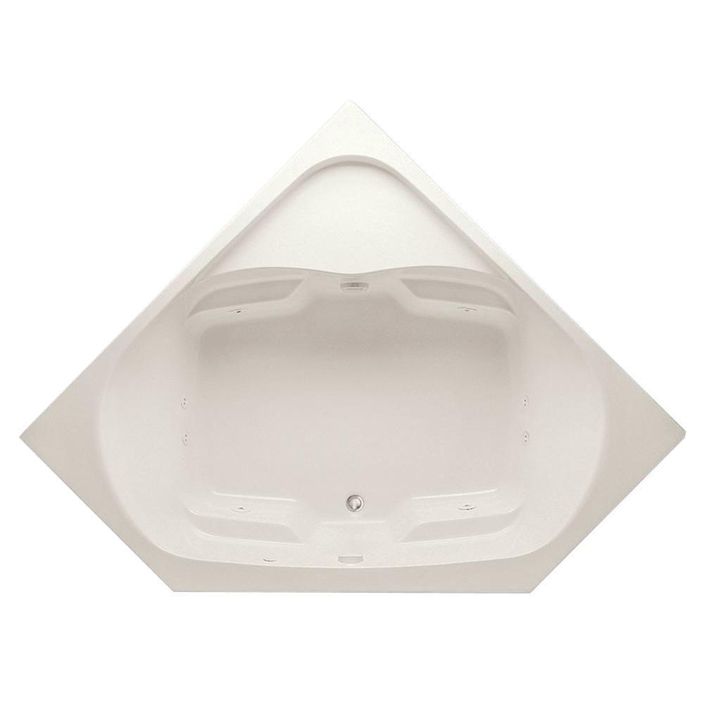 Aquatic Cavalcade 60 in. Acrylic Center Drain Corner Drop-In Whirlpool Bathtub with Heater in Biscuit Pump Location 2