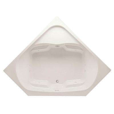 Cavalcade 60 in. Acrylic Center Drain Corner Drop-In Whirlpool Bathtub with Heater in Biscuit Pump Location 2