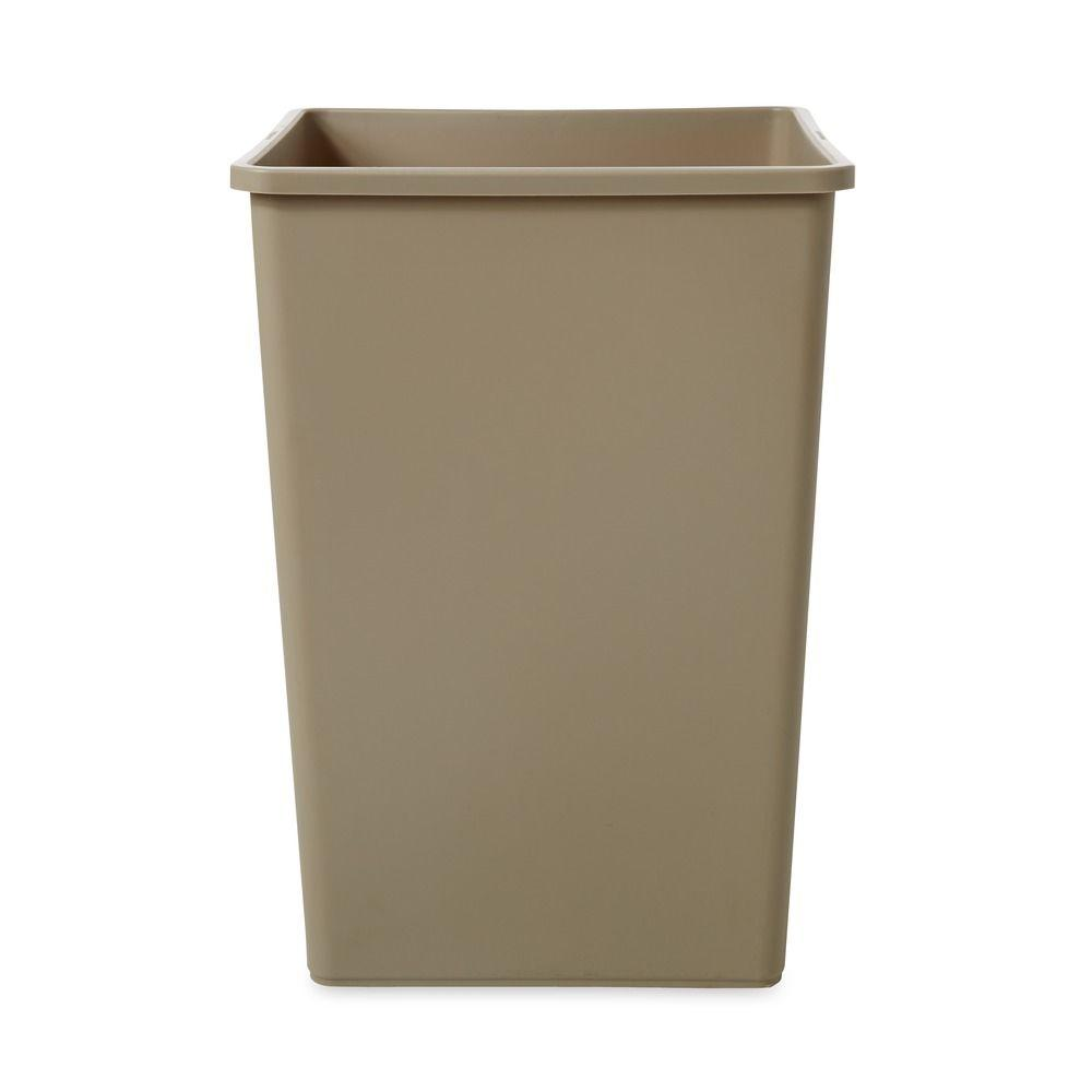 Untouchable 35 Gal. Beige Square Trash Can, Beige/Bisque