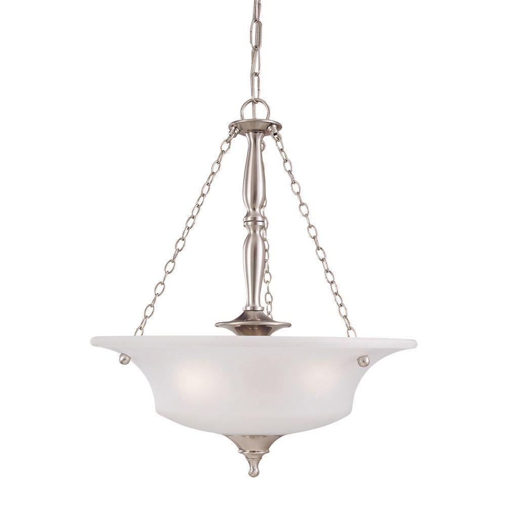Thomas Lighting Winston 3-Light Brushed Nickel Pendant with Etched Glass Shade-DISCONTINUED