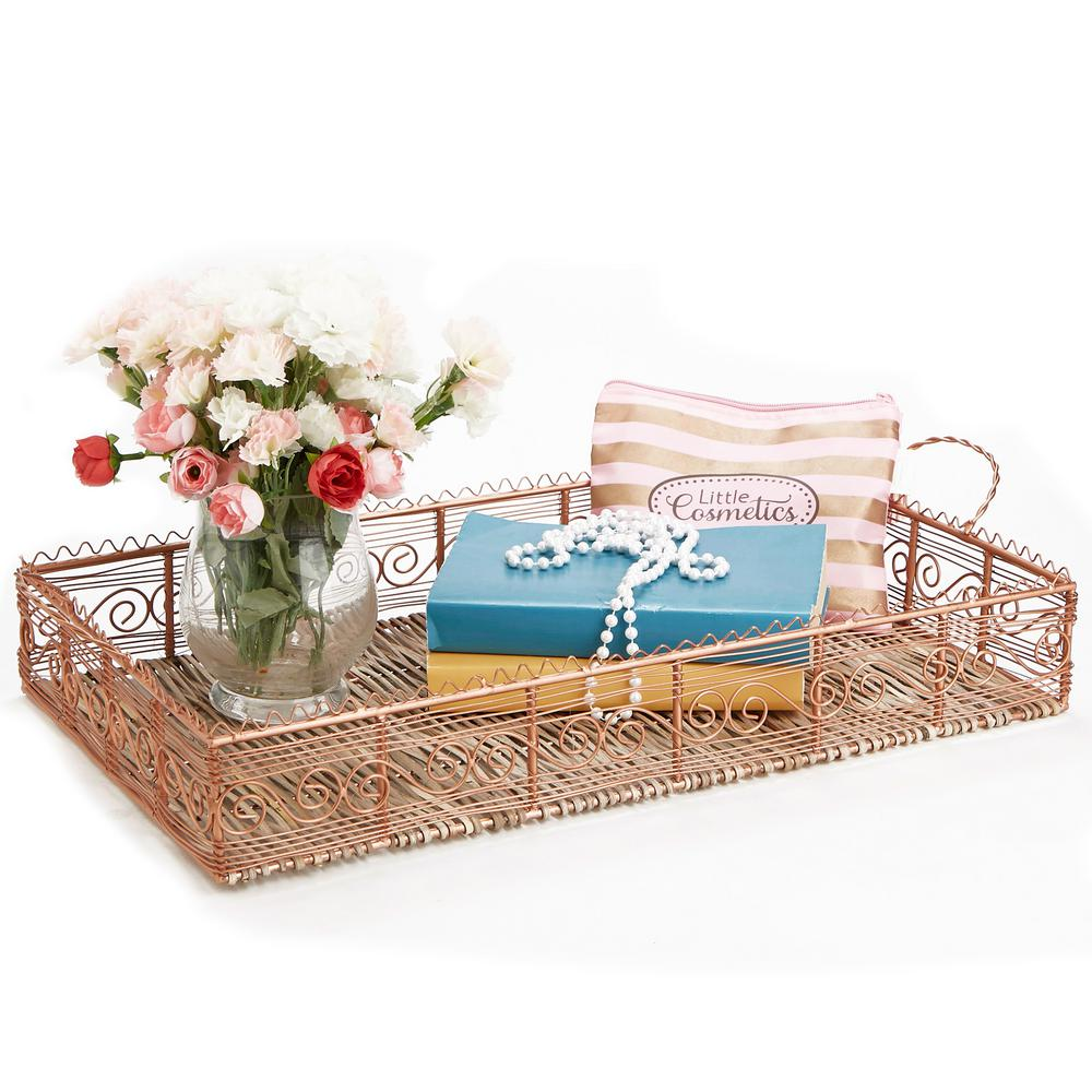 Mind Reader Rose Gold Bamboo And Copper Plated Serving Tray With Handles