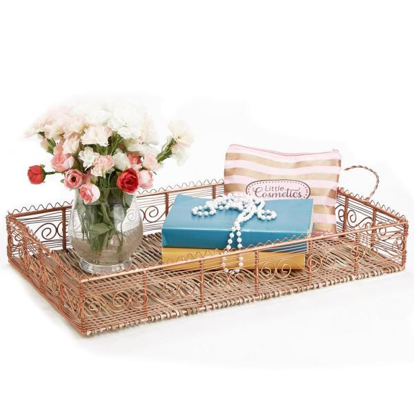 Mind Reader Rose Gold Bamboo and Copper Plated Serving Tray with