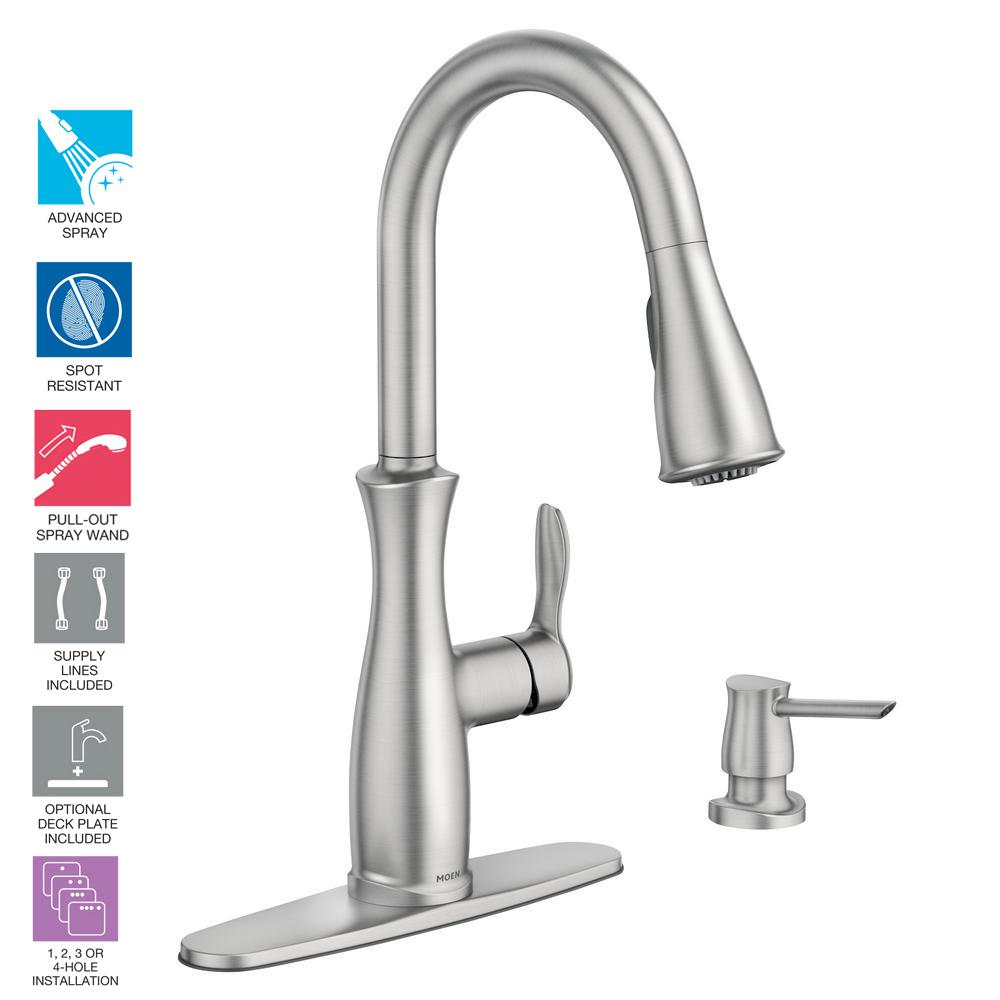 MOEN Brecklyn 1-Handle Pull-Out Sprayer Kitchen Faucet w//Power Clean-Resist St.