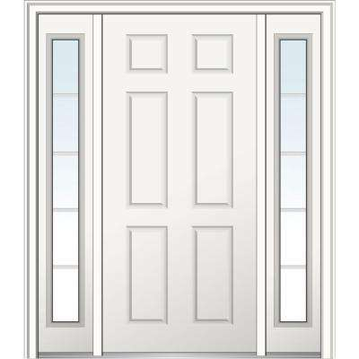 64 in. x 80 in. 6-Panel Right-Hand Classic Primed Fiberglass Smooth Prehung Front Door with Sidelites