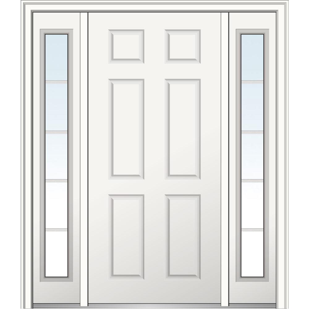 68.5 in. x 81.75 in. 6-Panel Left-Hand Inswing Classic Primed Fiberglass Smooth Prehung Front Door with Sidelites