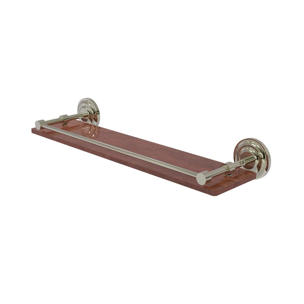 Allied Brass Que New Collection 22 in. Solid IPE Ironwood Shelf with Gallery Rail in Polished Nickel