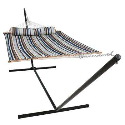 10-1/2 ft. Quilted Fabric Hammock with 15 ft. Hammock Stand in Ocean Isle