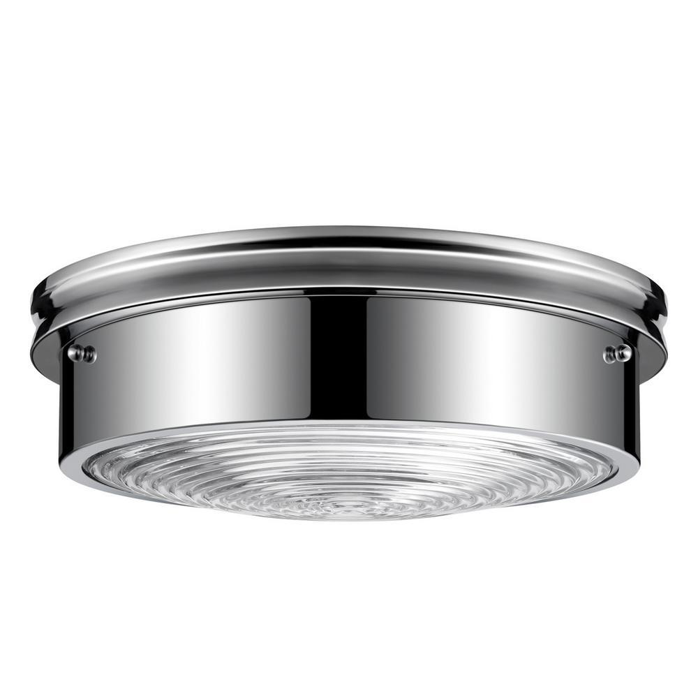 Admiralty 3-Light Chrome Ribbed Glass Flushmount