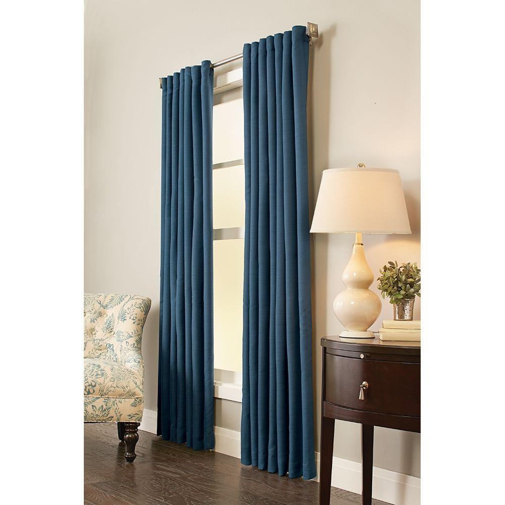 Semi-Opaque Indigo Room Darkening Back Tab Curtain - 54 in. W