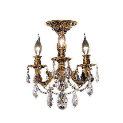 3-Light French Gold Flushmount with Clear Crystal