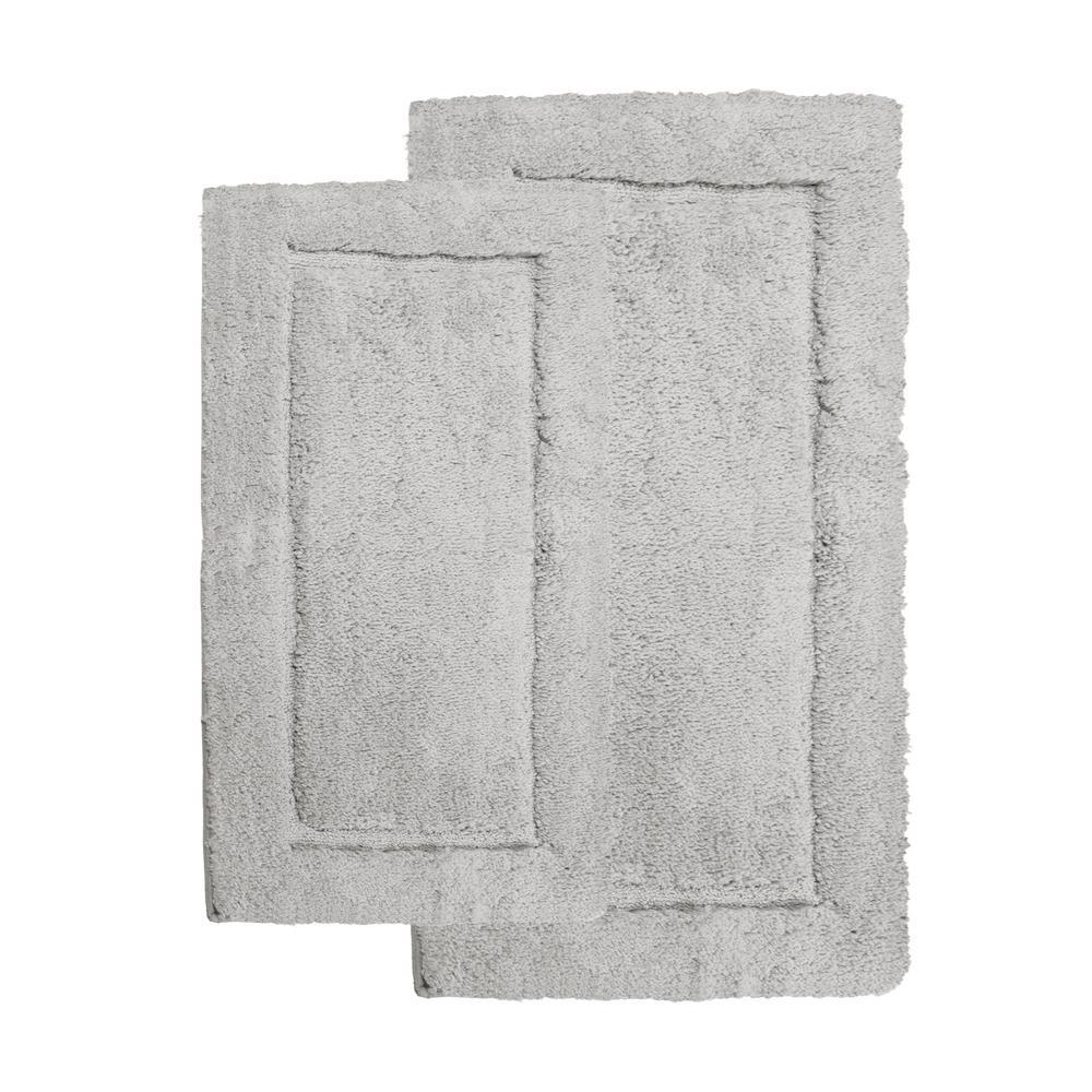 Microfiber Spa Grey 23 in. x 39 in. 2-Piece Bath Rug Set
