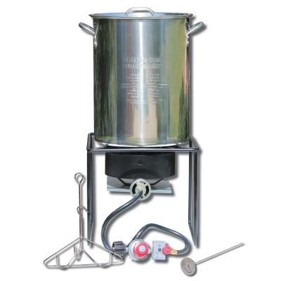12 in. Welded Square Turkey Fryer Package with Stainless Steel Turkey Pot