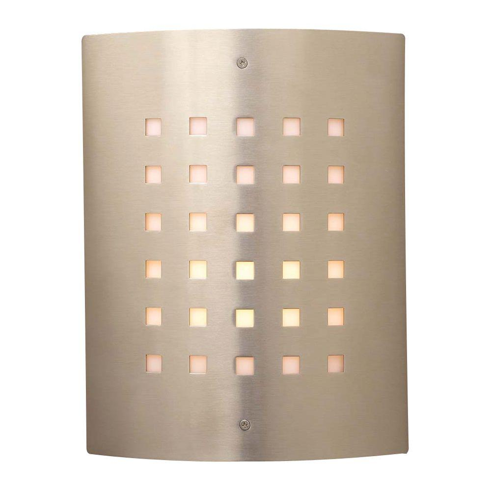 1-Light Outdoor Satin Nickel Wall Sconce with Matte Opal Glass