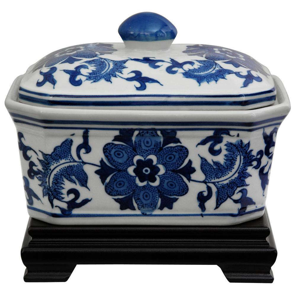 Oriental Furniture 5 in. Porcelain Decorative Vase in Blue
