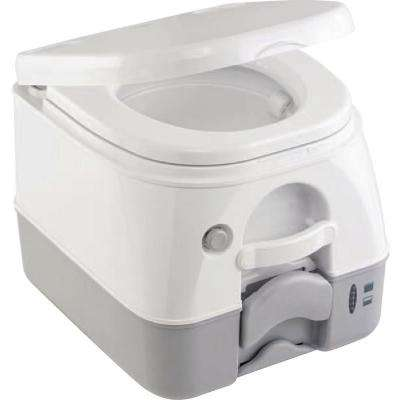 2.5 Gal. Full Size SaniPottie 975 MSD Portable Toilet with Push Button Flush in Gray