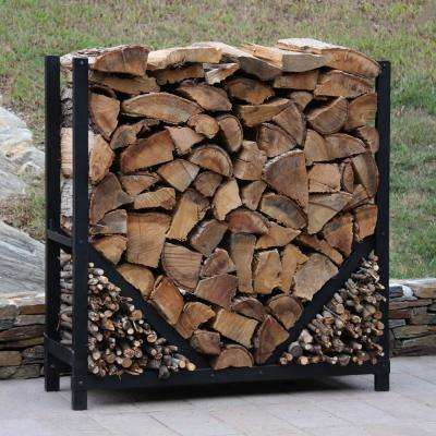 ShelterIT 4 ft. Firewood Log Rack with Kindling Wood Holder - Straight Sides