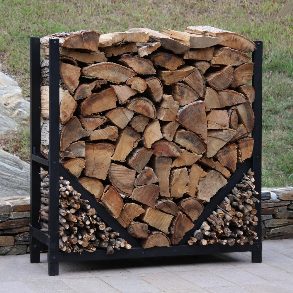 Shelterit Shelterit 4 Ft Firewood Log Rack With Kindling Wood Holder Straight Sides 23314 The Home Depot