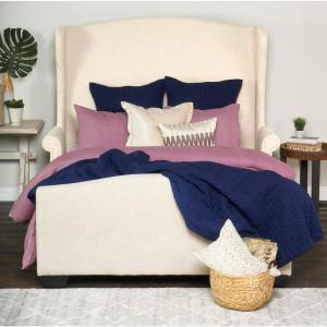 Heirloom Linen Quilted Navy King Quilt