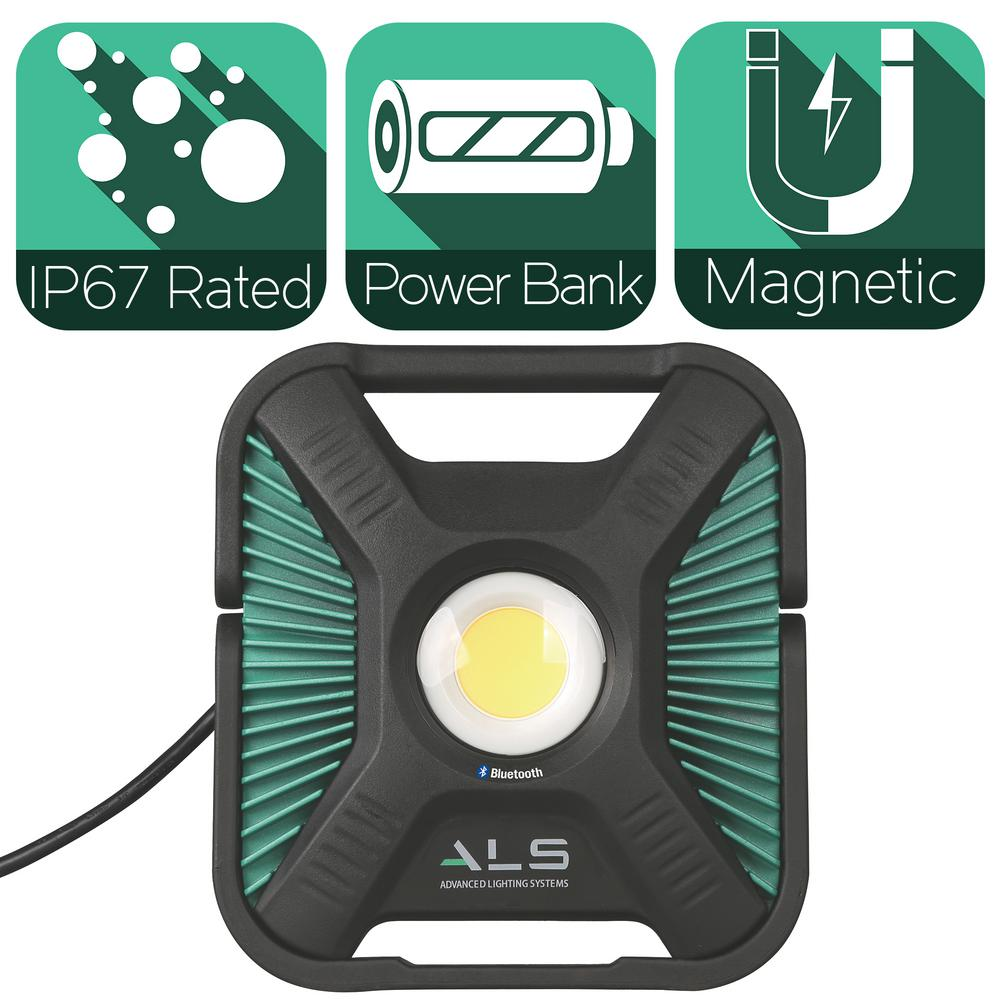 Advanced Lighting Systems 6 000 Lumens Heavy Duty Led Bluetooth Work Light With Integrated Bank And Removable Cable