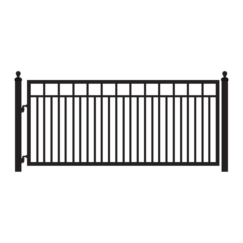 Mighty Mule Sanibel 12 ft. x 4-4/5 ft. Powder Coated Steel Metal Single Driveway Fence Gate