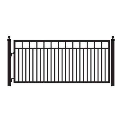 Sanibel 12 ft. x 4-4/5 ft. Powder Coated Steel Metal Single Driveway Fence Gate
