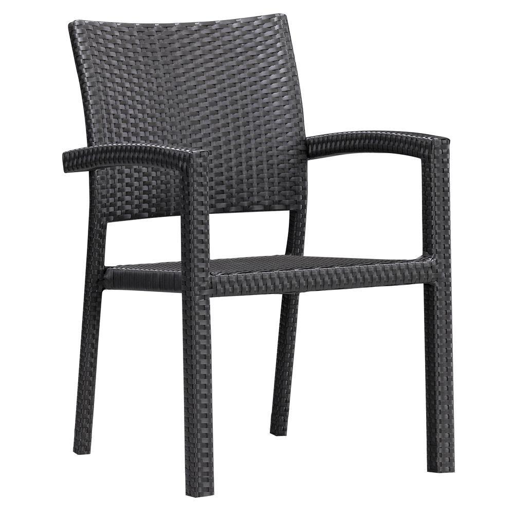 Boracay Espresso Wicker Outdoor Patio Dining Chair (2-Pack)