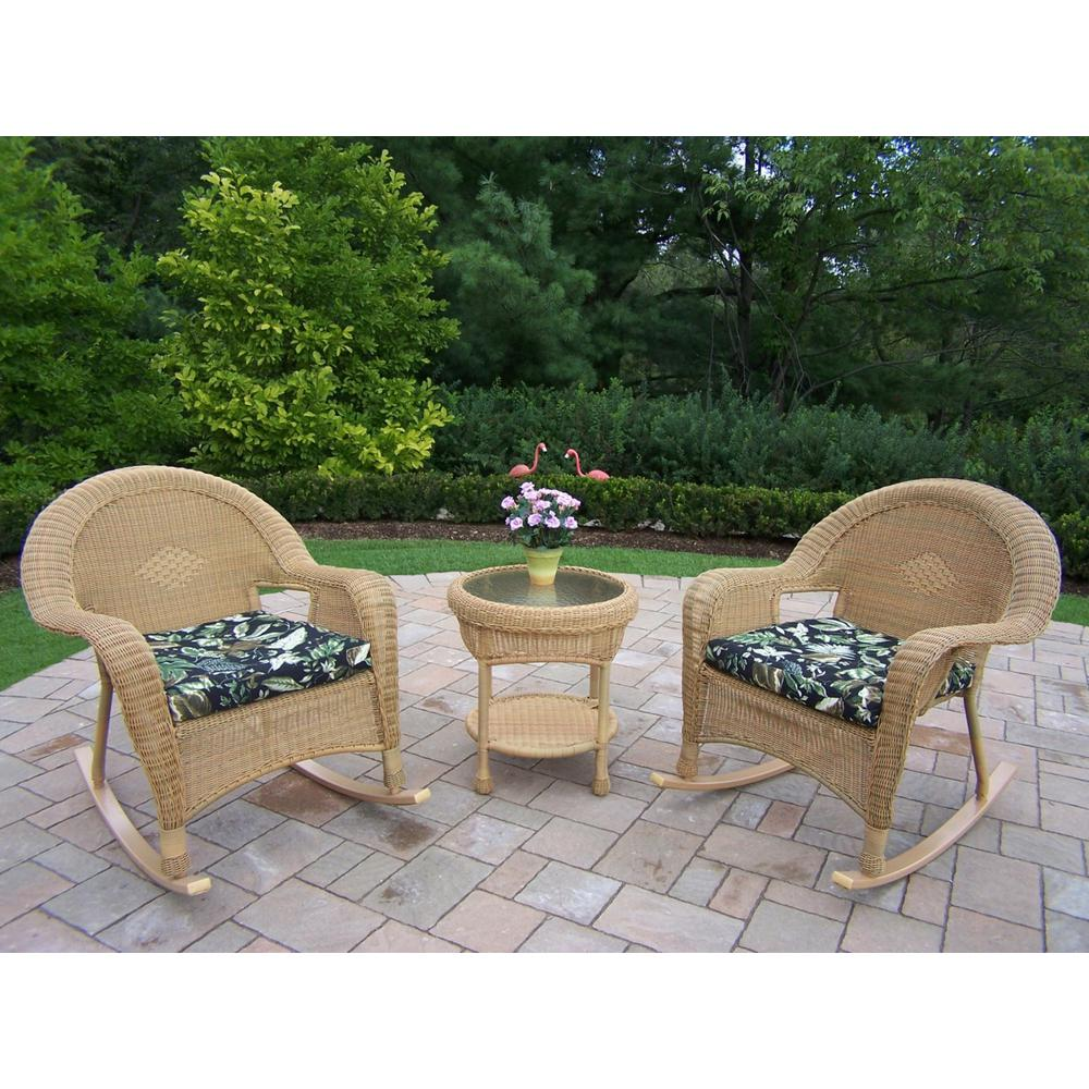 Honey 3-Piece Wicker Outdoor Bistro Set with Black Floral Cushions