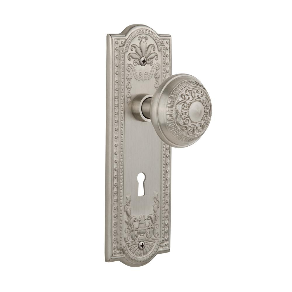 Nostalgic Warehouse Meadows Plate With Keyhole 2 3 4 In Backset Satin Nickel Privacy Bed Bath Egg And Dart Door Knob 718386 The Home Depot