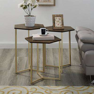 Modern Transitional Dark Walnut/Gold Hex Wood and Metal Nesting Tables (Set of 3)